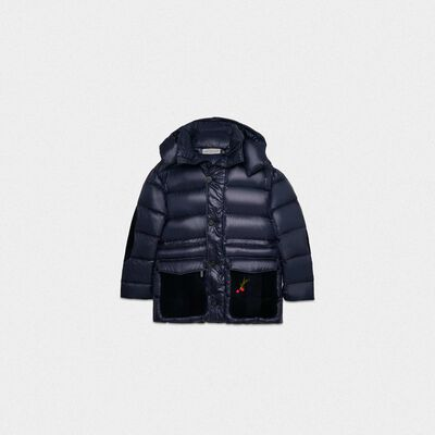 Isao puffer coat in nylon padded with feathers