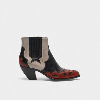 Sunset Flowers ankle boots in leather with decoration on the upper