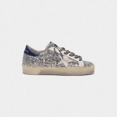 Sneakers Hi Star con glitter, stella bianca e lacci leopardati