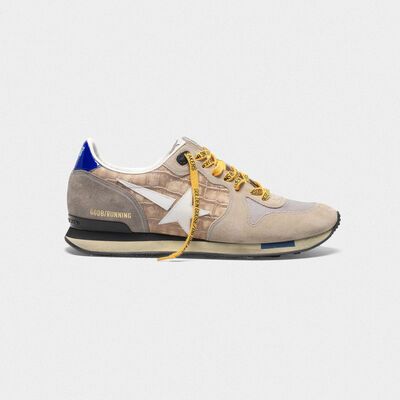 Sneakers Running stampa cocco e suede nude