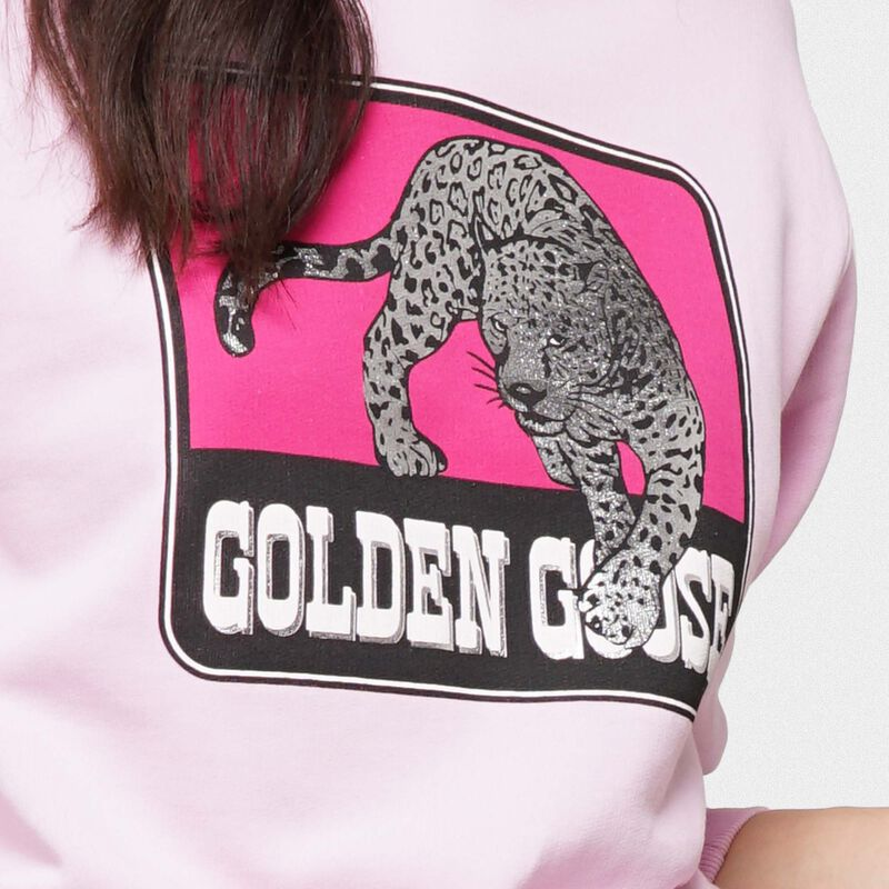 Golden Goose - Felpa Catarina rosa con stampa giaguaro in  image number null