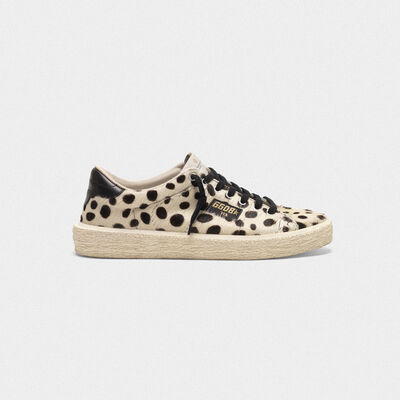 Tennis sneakers in pony skin with Dalmatian print