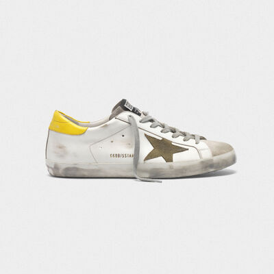 Superstar sneakers in leather with suede star and yellow heel tab