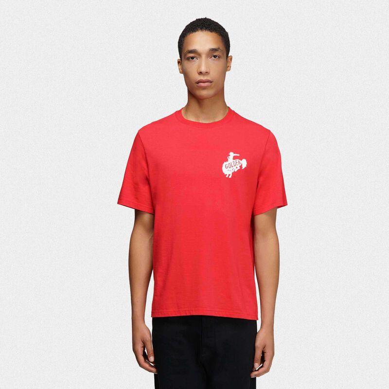 Golden Goose - T-shirt Golden rossa con logo Golden rodeo in  image number null