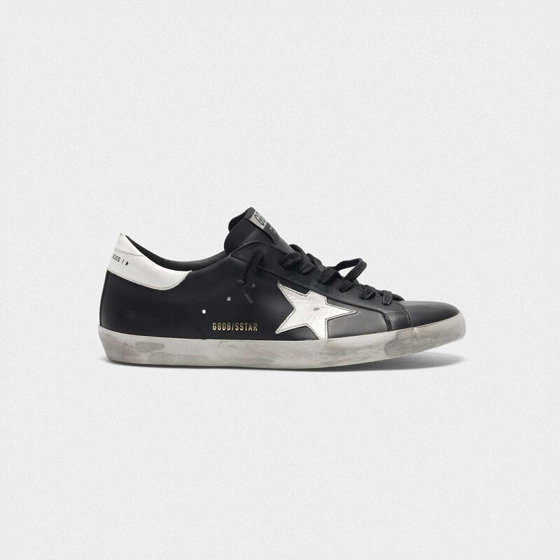 Golden Goose - Black Superstar sneakers in leather with white star in  image number null