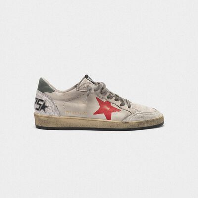 Ball Star sneakers in crackle leather with hand-painted red star