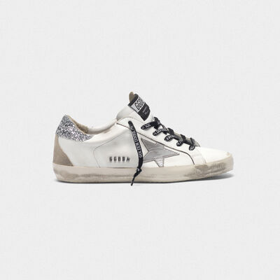 dbd219b8d88f Superstar sneakers with silver heel tab with glitter and metal stud  lettering