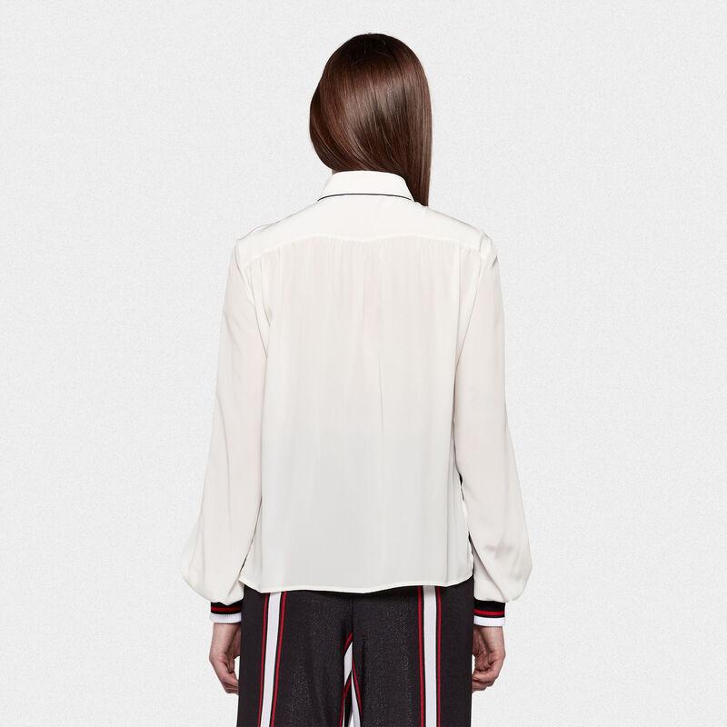 Golden Goose - Camicia Isako in pura seta con dettagli a contrasto in  image number null