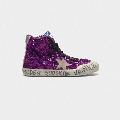 Francy sneakers with sequins and handwritten lettering on the outsole