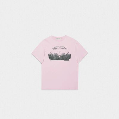 Lilac Golden T-shirt with Cadillac print