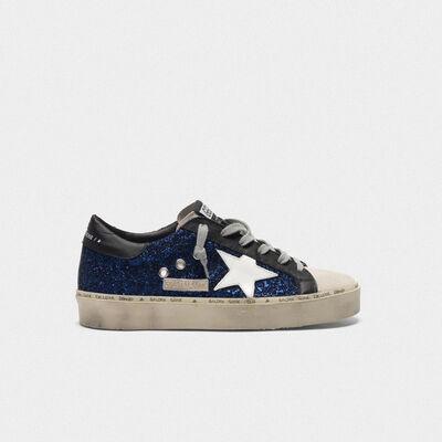 Sneakers Hi Star in suede con glitter blu