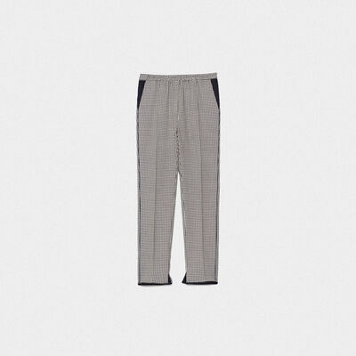 Minori checked trousers with elasticated waist