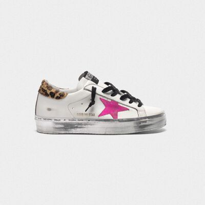 Hi Star sneakers with fuchsia star and leopard-print heel tab
