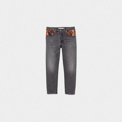 Jeans Jolly con patch in pelle pitonata