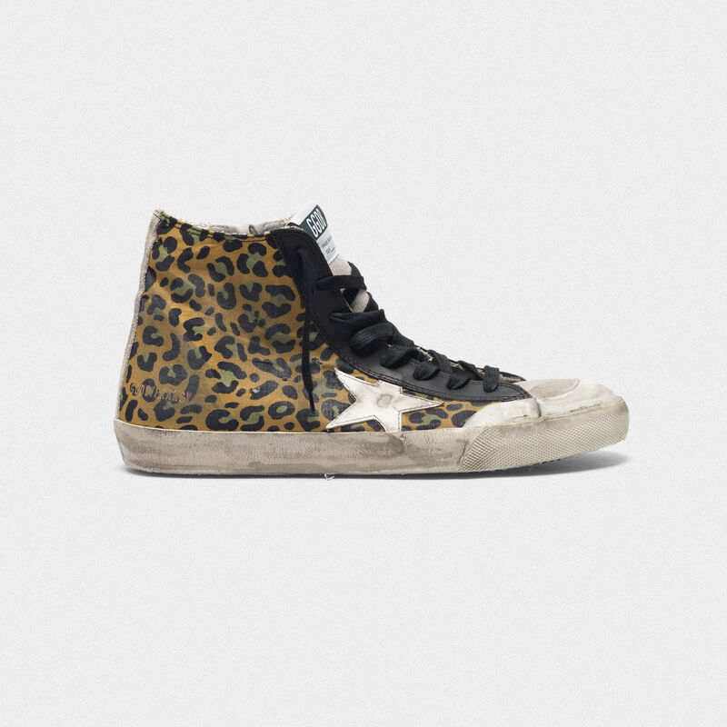 Golden Goose - Sneakers Francy in tela con motivo leopardato e pelle in  image number null