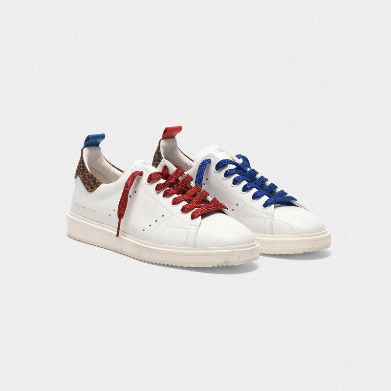 Golden Goose - Sneakers Starter in pelle con talloncino leopardato in  image number null