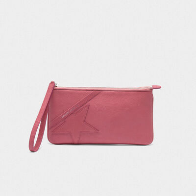 Pink Star Wrist clutch bag in grained leather