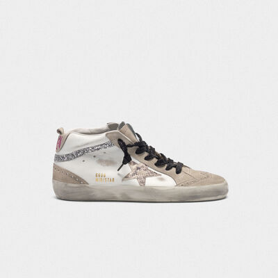 Mid-Star sneakers in leather with snakeskin-print star and glitter inserts