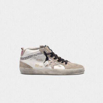 Sneakers Mid-Star in pelle con stella pitonata e inserti glitter