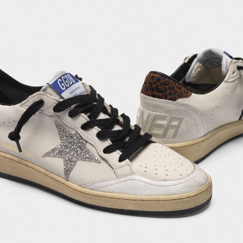 Golden Goose - Sneakers Ball Star con stella in glitter e talloncino leopardato in  image number null