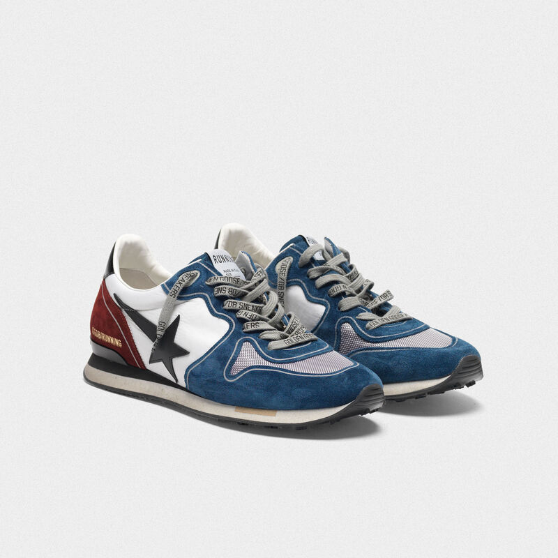 Golden Goose - Sneakers Running petrolio e burgundy con stella nera in  image number null