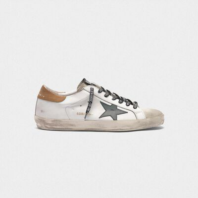 Sneakers Superstar bianche con talloncino stampa lucertolina