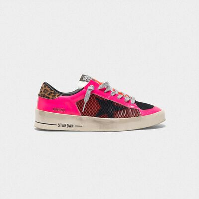 Stardan sneakers in fluorescent patchwork with leopard print heel tab
