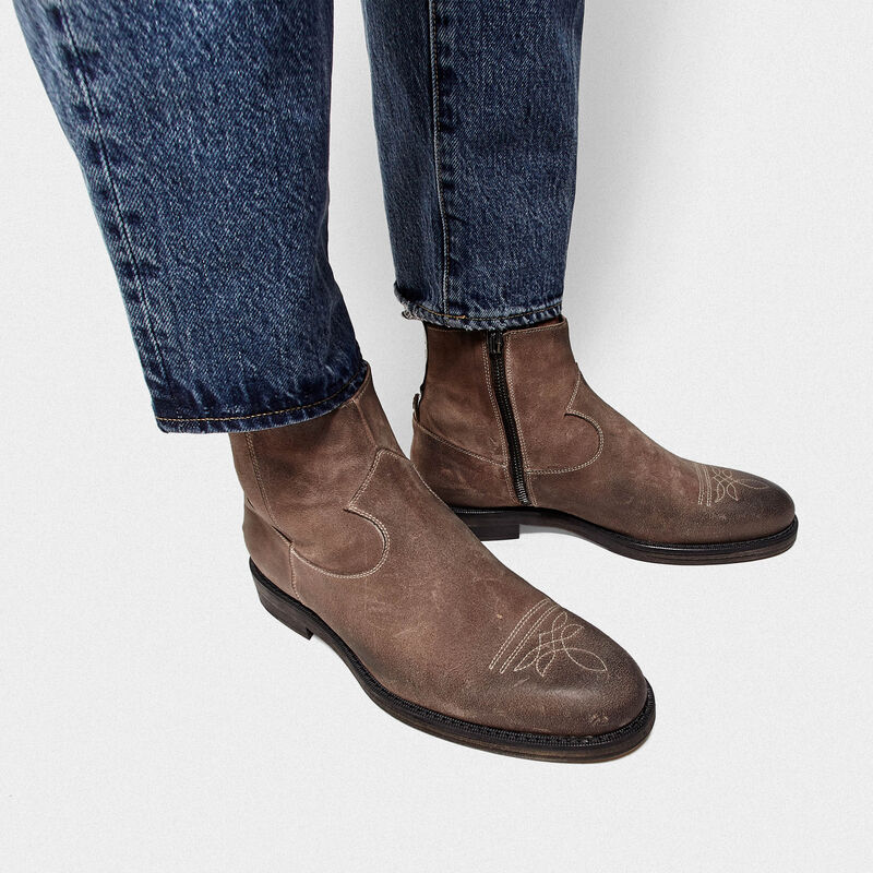 Golden Goose - Toro suede ankle boots with cowboy-style embroidery in  image number null