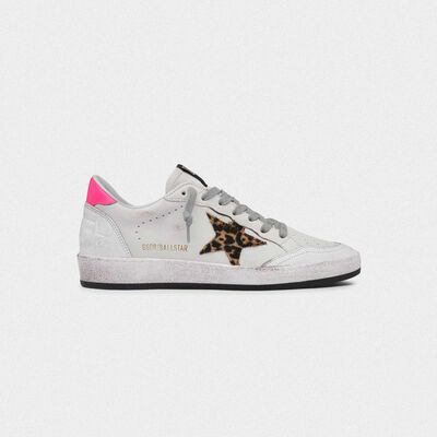 Sneakers Ball Star bianche in pelle con stella leopardata