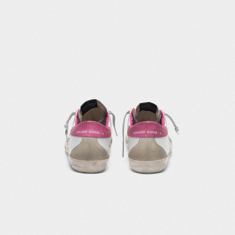 Golden Goose - White superstar sneakers with fuchsia lizard-print heel tab in  image number null