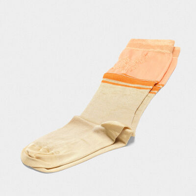 Peach Addison socks with jacquard pattern