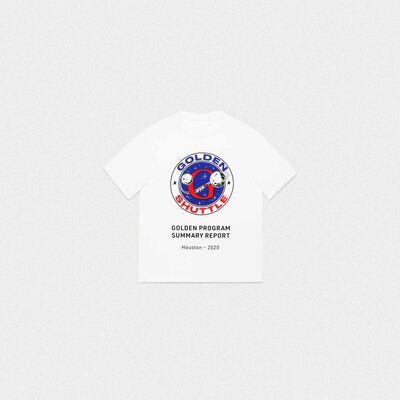 T-shirt Golden bianca stampa Golden Shuttle