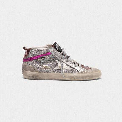 Sneakers Mid-Star in pelle metallizzata e glitter