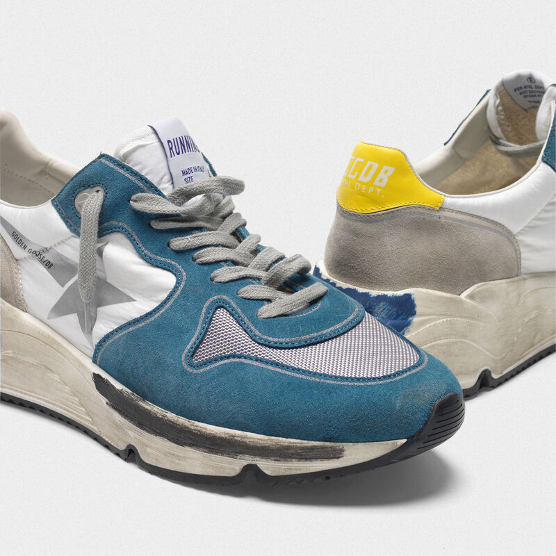 Golden Goose - Running Sole sneakers in light blue leather with silver star in  image number null