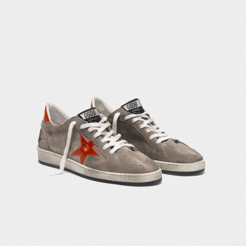 Golden Goose - Ball Star sneakers in grey suede with orange star in  image number null