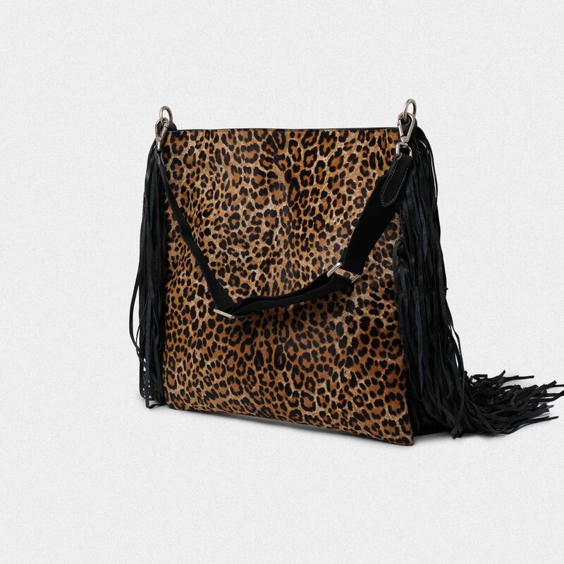 Golden Goose - Pochette Toast XL in pelle con frange in suede in  image number null