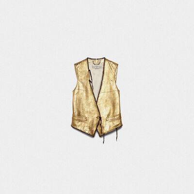 Shiori waistcoat in gold leather