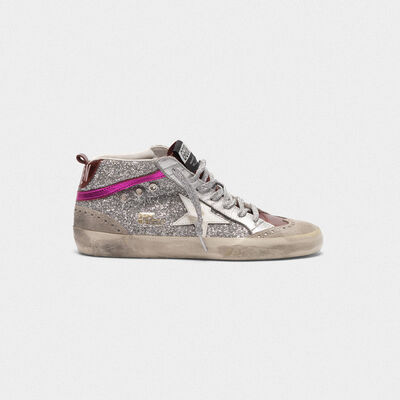 Sneakers Mid-Star in pelle metallizzata e glitter