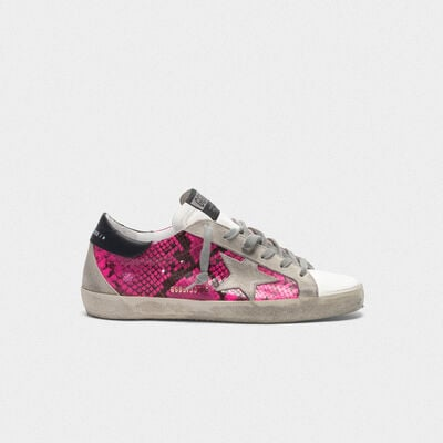 Superstar sneakers in fuchsia snakeskin leather
