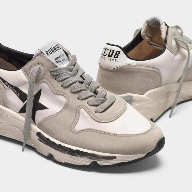 Golden Goose - Sneakers Running Sole in pelle e lycra con stella black in  image number null