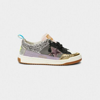 Sneakers Yeah! in mesh argento e stella rosa