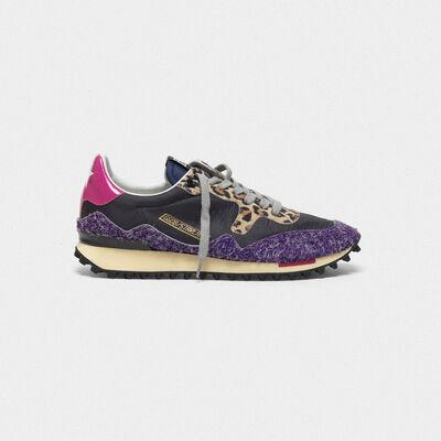 Sneakers Starland in nylon con inserto in camoscio sfrangiato