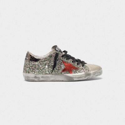 Glittery Superstar sneakers with laminated star