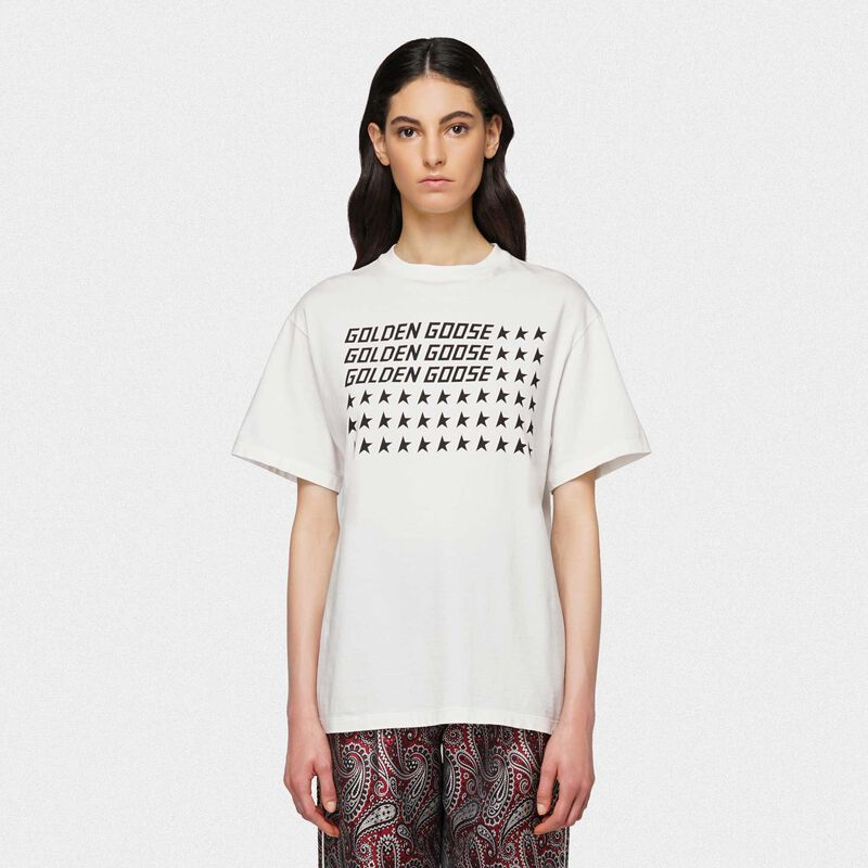 Golden Goose - White Golden T-shirt with flag print in  image number null