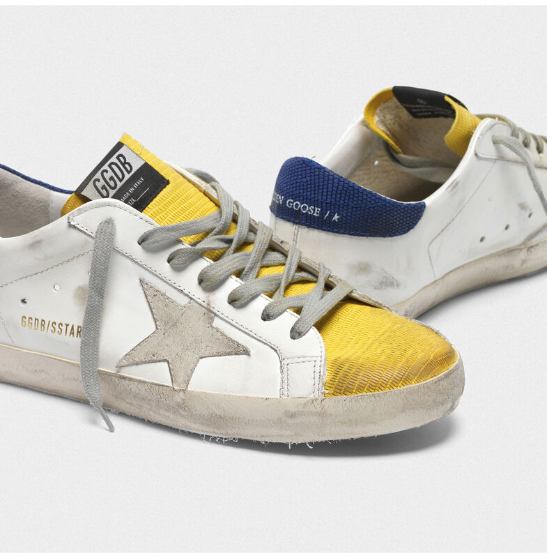 Golden Goose - Sneakers Superstar bicolore con inserto giallo lucertolina in  image number null