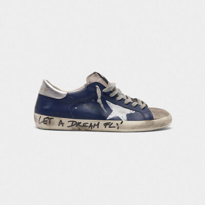 Superstar sneakers in leather with message on the foxing