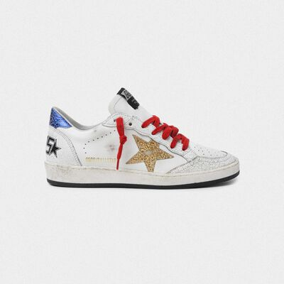 White Ball Star sneakers with gold star and blue heel tab