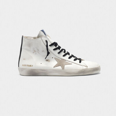 Francy sneakers in leather with suede star and blue sole