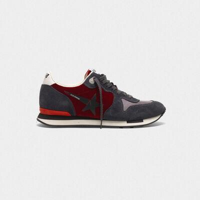 Sneakers Running in velluto con stella gommata
