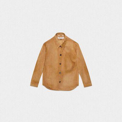 Sawyer shirt in bone brown leather